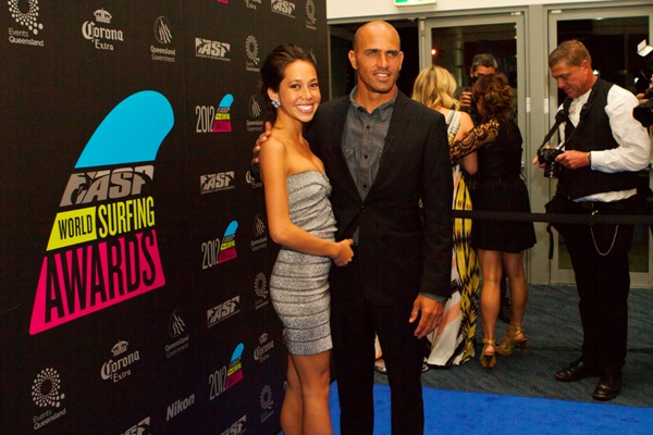 Kelly Slater (USA), 40, and beautiful girlfriend Kalani Miller walk the Blue Carpet at the 2012 ASP World Surfing Awards.