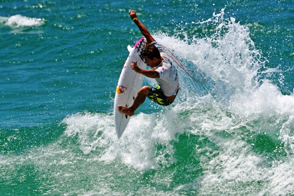 Julian Wilson (AUS), 23, throwing his fins en route to a victory at the ASP 4-Star Breaka Burleigh Pro.