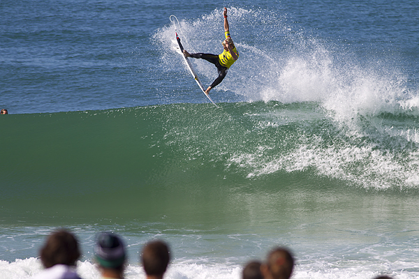 John Florence (HAW), 18, blasting off in Round 3 of the Rip Curl Pro Portugal.
