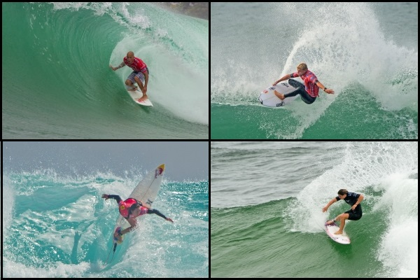 Kelly Slater, Mick Fanning, Tyler Wright and Carissa Moore (clockwise from upper left) all lead the hunt for the 2013 ASP World Titles, but there is still a lot of opportunity before the year is out!