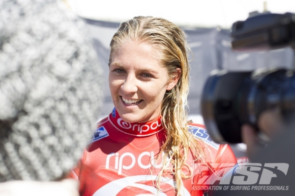 Stephanie Gilmore (AUS), 25, reigning five-time ASP Women's World Champion, has sustained a foot injury but will surf in Round 2 of the Rip Curl Women's Pro Bells Beach.