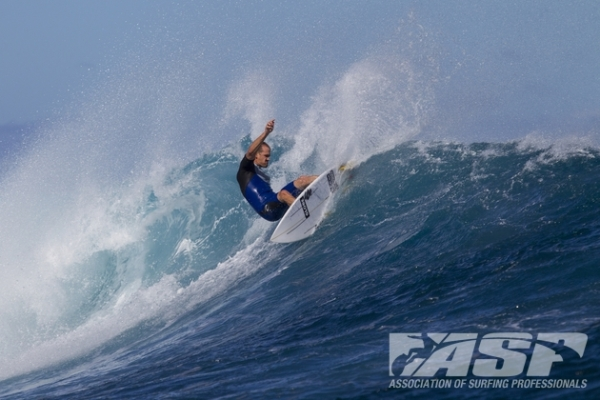 C.J. Hobgood (USA), 33, does some product testing in Fiji.