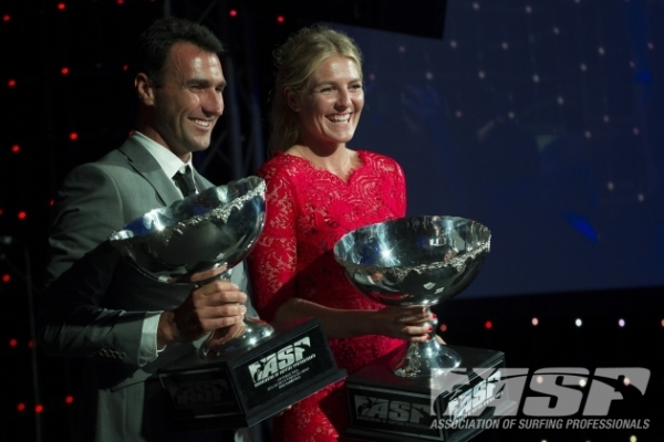 2012 ASP World Champions Joel Parkinson (AUS), 31, and Stephanie Gilmore (AUS), 25, last night at the 2013 ASP World Surfing Awards.