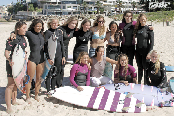 7 x ASP Women's World Champion Layne Beachley giving advice to future Australian surfing stars at the Sutherland Shire junior girls development camp yesterday. Pic Surfing NSW
