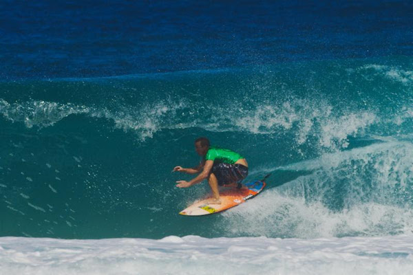 Jamie O'Brien was a standout in the small conditions at Gums today. Photo: Bielmann