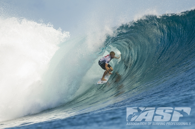 Kai Otton (AUS), 33, will surf against Sebastian Zietz (HAW), 25, in Heat 5 Round 3 of the Volcom Fiji Pro.