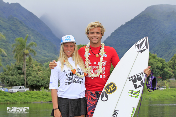 Steph Single (AUS) and William Aliotti (FRA) claim their first ASP Pro Junior wins at Papara today. Pic ASP/Will H-S
