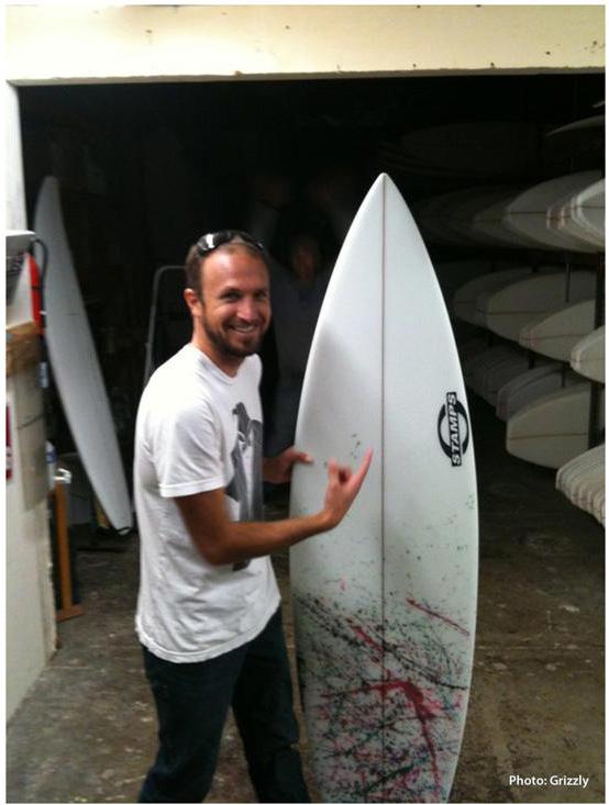 Micah Byrnes Stamps Surfboard