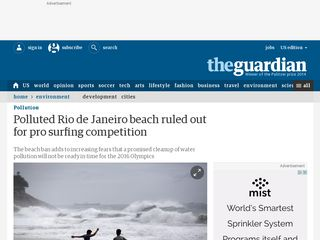 Polluted Rio de Janeiro beach ruled out for pro surfing competition - The Guardian
