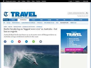Surfer breaks leg on 'biggest wave ever' in Australia - but has no regrets - Telegraph.co.uk