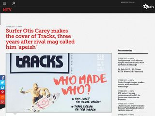 Surfer Otis Carey makes the cover of Tracks, three years after rival mag called him 'apeish' - SBS