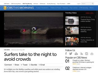 Surfers take to the night to avoid crowds - CBS News