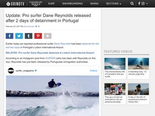 Update: Pro surfer Dane Reynolds released after 2 days of detainment in Portugal - GrindTV