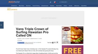 Vans Triple Crown of Surfing Hawaiian Pro Called ON - Maui Now