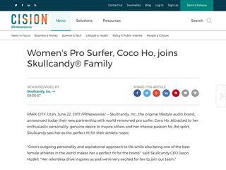 Women's Pro Surfer, Coco Ho, joins Skullcandy® Family - PR Newswire (press release)