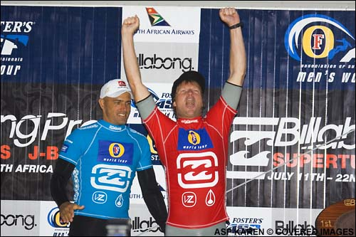 Taj Burrow Wins, Defeating Kelly Slater, at The Billabong Pro Jeffreys Bay Surf Contest