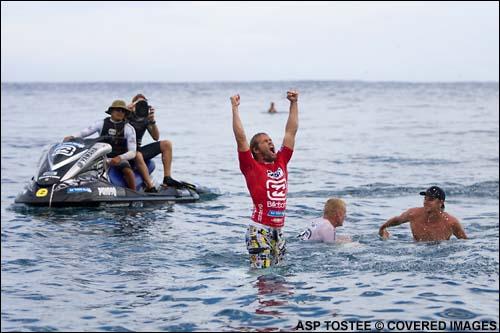 Damien Hobgood Wins The 200 Billabong Pro at Teahupoo Tahiti.  Pic Credit ASP Tostee