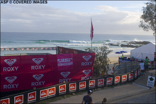A perfect Gold Coast morning and the Roxy Pro round one will begin in super clean and carvable 1m surf and following round's 1 and 2 an exciting trial of Kelly Slater's new contest format! Pic Credit ASP Tostee