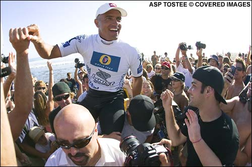 Kelly Slater Wins The Boost Mobile Pro Surf Contest Presented By Hurley at Lower Trestles.