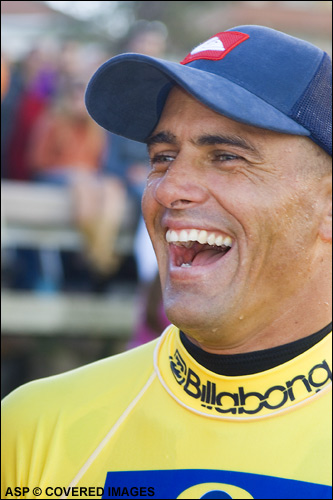 Can the dangerously confident & relaxed Kelly Slater take out Joel Parkinson in the semi finals and claim his eighth world title in Mundaka. Picture credit ASP Tostee